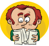 Confused by Paperwork. A cartoon man is confused by his paperwork Royalty Free Stock Photo
