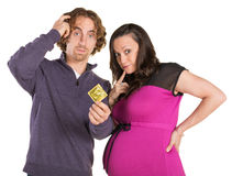 Confused Parents with Condom Royalty Free Stock Photos