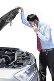 Confused person and broken car Royalty Free Stock Images
