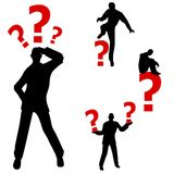 Confused Question Mark Man. An illustration featuring your choice of 4 confused men with red question marks in various poses Stock Photo