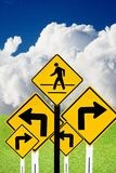 Confused road sign with nature background. Confused road sign with outdoor background Royalty Free Stock Photo
