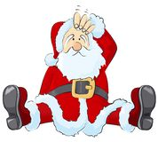 Confused Santa. Vector illustration, confused Santa Clause Stock Photo