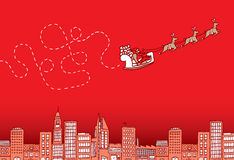 Confused santa flying on christmas over the city Royalty Free Stock Photo