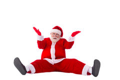 Confused Santa. Portrait of confused Santa Claus sitting on the floor Stock Photos