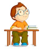 Confused School Boy. Vector illustration of confused school boy sitting on table Stock Image