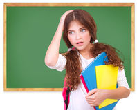 Confused school girl Stock Images