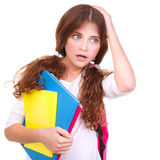 Confused school girl Royalty Free Stock Photo