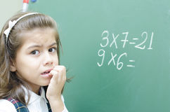 Confused Schoolgirl Thinking Stock Photography