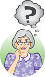Confused Senior Woman. Vector illustration of a confused elderly woman Royalty Free Stock Photo