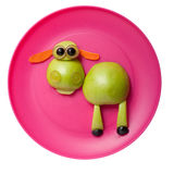 Confused sheep made of apple Stock Image