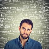Confused skeptical young man thinking looking up under stress pressure stock images