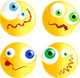 Confused smilies. Set of funny faced confused smilie emoticons Vector Illustration