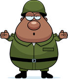 Confused Soldier. A cartoon illustration of an army soldier looking confused Royalty Free Stock Images