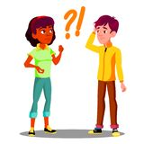Confused Student With Question Marks Above His Head Vector. Isolated Illustration royalty free illustration