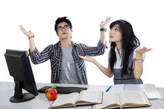 Confused students isolated Stock Photo