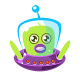 Confused and surprised green aliens in a flying saucer, cute cartoon monster. Colorful vector character Royalty Free Stock Images