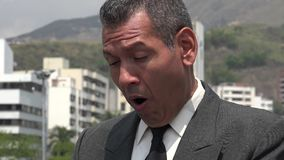Confused Surprised Or Startled Business Man stock footage