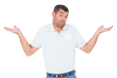 Confused Technician Giving I Dont Know Gesture Stock Photos
