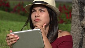 Confused Teen Girl With Tablet stock footage