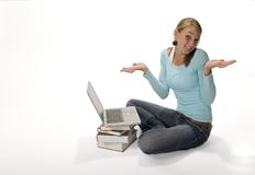 Confused teen with laptop computer. Teenage girl confused by laptop computer Royalty Free Stock Photo
