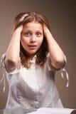 Confused teen schoolgirl Royalty Free Stock Photography