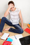 Confused Teenager with the Books Royalty Free Stock Images