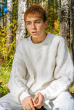 Confused Teenager in the Forest Stock Image