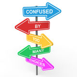 Confused by too many choices concept 3d sign boards Royalty Free Stock Photography