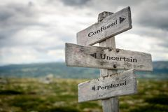 Confused, uncertain and perplexed wooden signpost. Outdoors in nature. Business, marketing and teamwork concept royalty free stock images