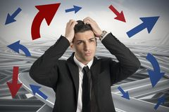 Confused way of a businessman. Concept of Confused way of a businessman Royalty Free Stock Images