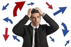 Confused way of a businessman royalty free stock images