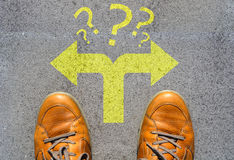 Confused which way to go or choose direction concept. Man confused about the right direction, hesitating to make a decision Stock Image