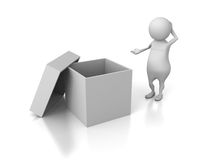 Confused White 3d Person Looking To Opened Empty Box Stock Images