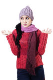 Confused Winter Woman Stock Image