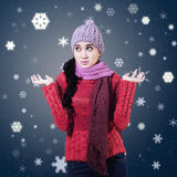 Confused Winter Woman Stock Photo