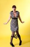 Confused woman black panties down Royalty Free Stock Photo