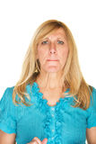Confused Woman in Blue Royalty Free Stock Images