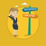 Confused woman choosing career pathway. Royalty Free Stock Photo