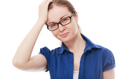 Confused woman. Closeup portrait of young woman scratching head, thinking daydreaming deeply about something, looking up, isolated on white background. Human Stock Photography