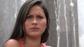 Confused Woman, Confusion, Worry, Anxiety, Stress. Stock video of a Hispanic woman stock footage