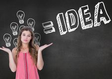 Confused woman gesturing against idea concept on blackboard Stock Photo