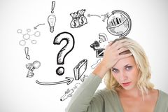 Confused woman with hand on head by icons over white background. Digital composite of Confused woman with hand on head by icons over white background Stock Image