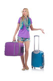 Confused woman preparting for vacation. With suitcase isolated on white Royalty Free Stock Images