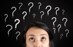 Confused woman and question marks Royalty Free Stock Images