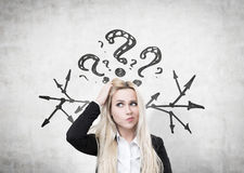 Confused woman, questions and arrows Stock Photography