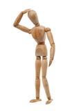 Confused wood man. Model isolated on white background Royalty Free Stock Image