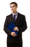 Confused young business man stand in formal suit Royalty Free Stock Photography