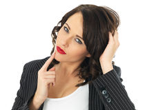 Confused Young Business Woman Royalty Free Stock Images