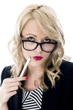 Confused Young Business Woman Wearing Glasses Royalty Free Stock Photography