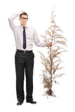 Confused young guy holding a whole tree Stock Photo